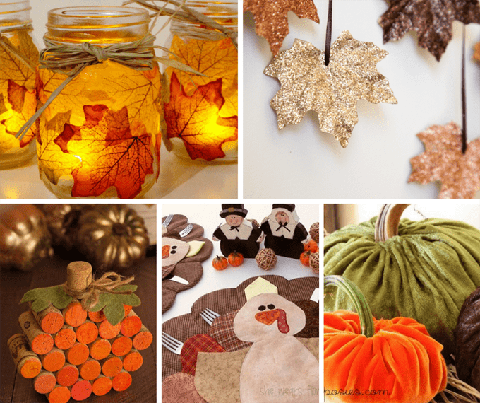 roundup of 40 DIY Thanksgiving decor/crafts ideas