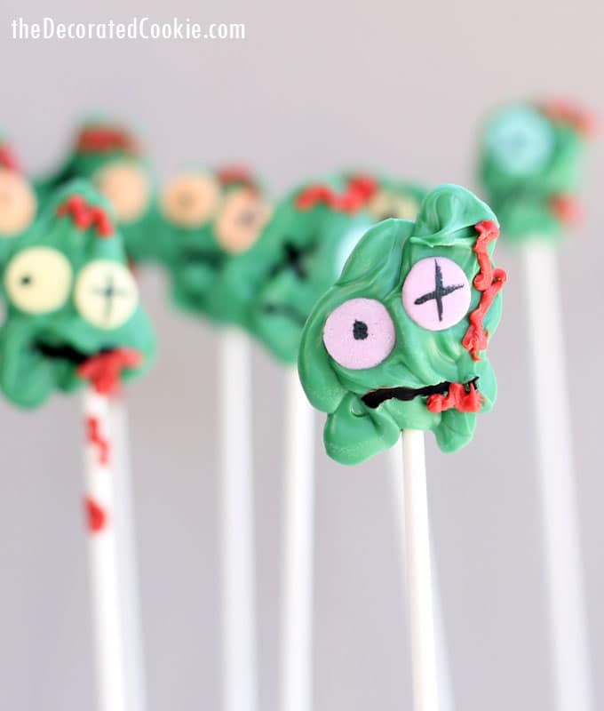 These chocolate zombie candy pops are easy to make and perfectly creepy for your Halloween party.