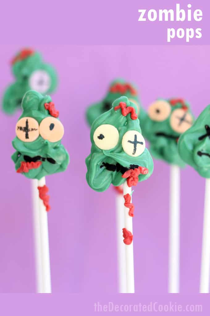 These chocolate zombie candy pops are easy to make and perfectly creepy for your Halloween party. Fun food for Halloween! Or for a Walking Dead party. #zombie #zombiecandy #halloween #halloweenfood #halloweenparty  #zombieparty