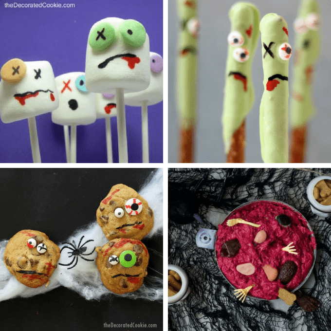 A roundup of 15 zombie food ideas for Halloween parties or treats or for a The Walking Dead viewing party food ideas. #zombie #halloween #foodideas #partyfood #thewalkingdead