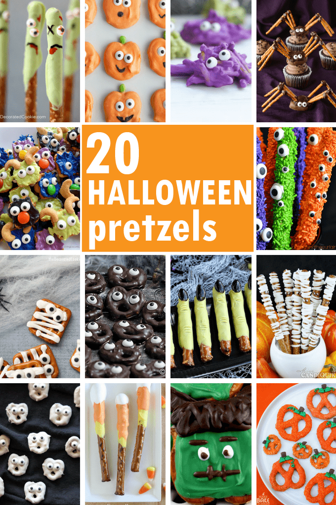 An awesome roundup of 20 different Halloween pretzels treats from around the web, with how-tos. Fun Halloween party food ideas. #halloween #pretzels