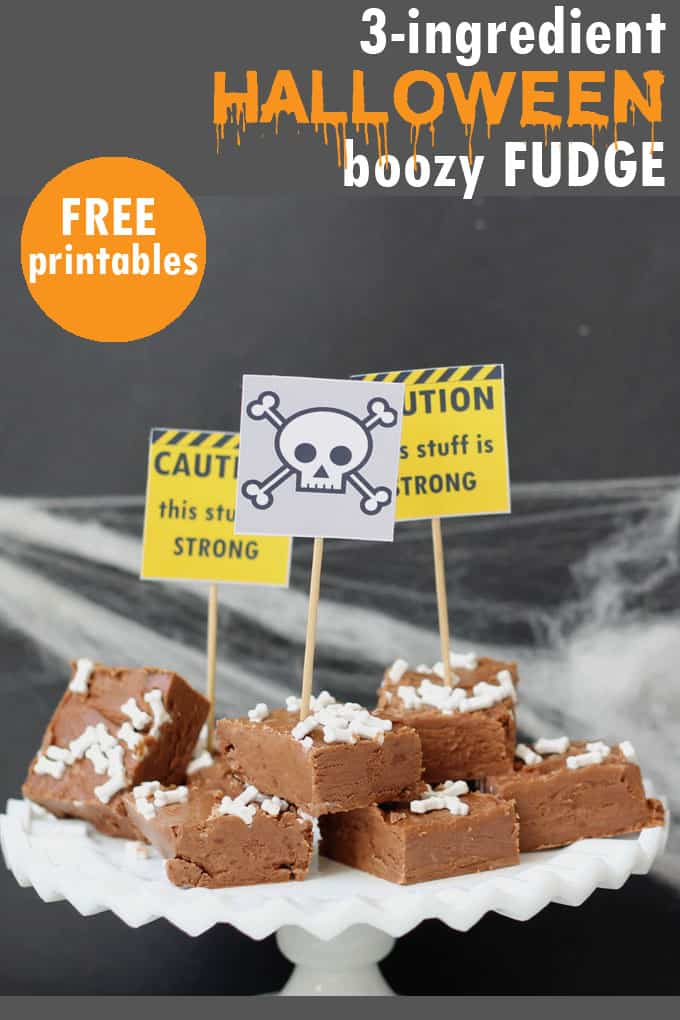 EASY, 3-ingredient boozy Halloween fudge! Free printables included. Vodka and chocolate will be the hit of your Halloween party.