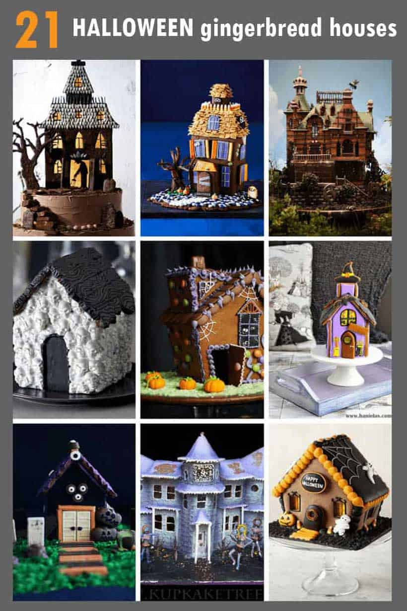 collage of Halloween gingerbread houses