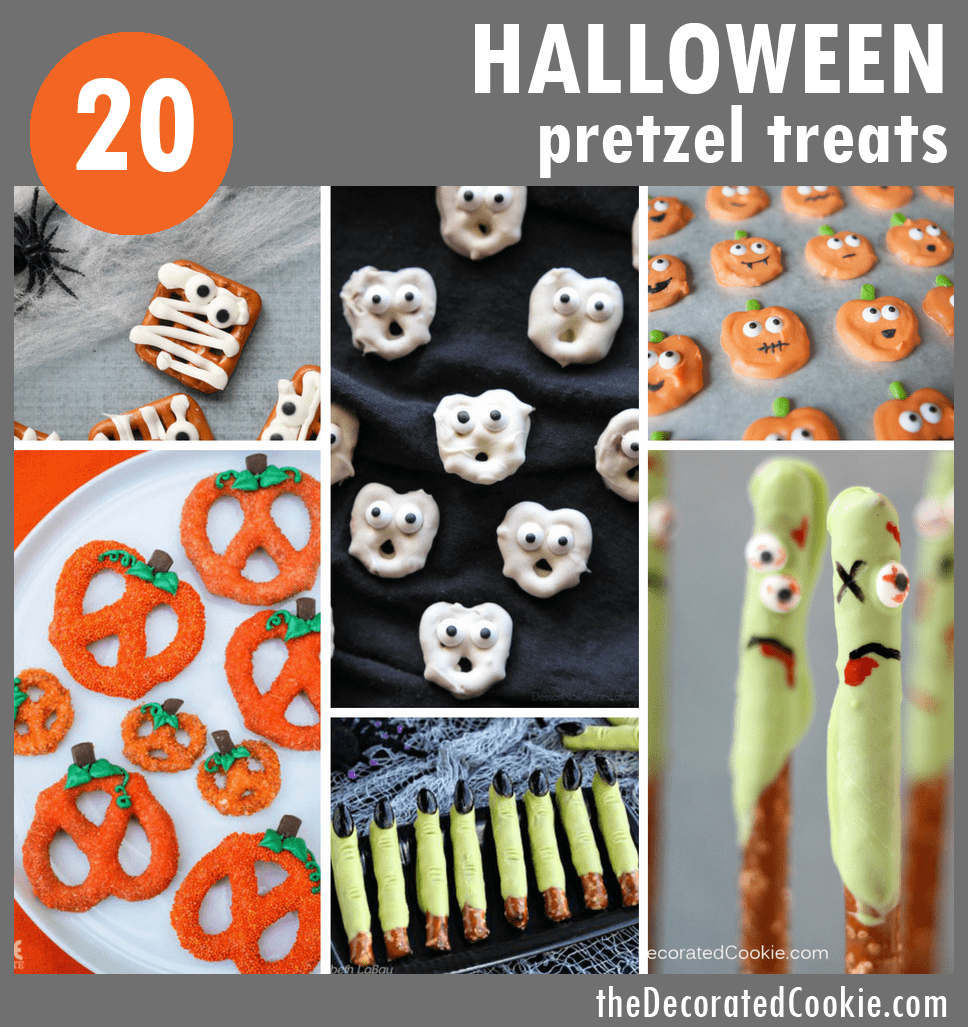 20 Halloween pretzels treats roundup #halloween #pretzels #funfood #partyfood