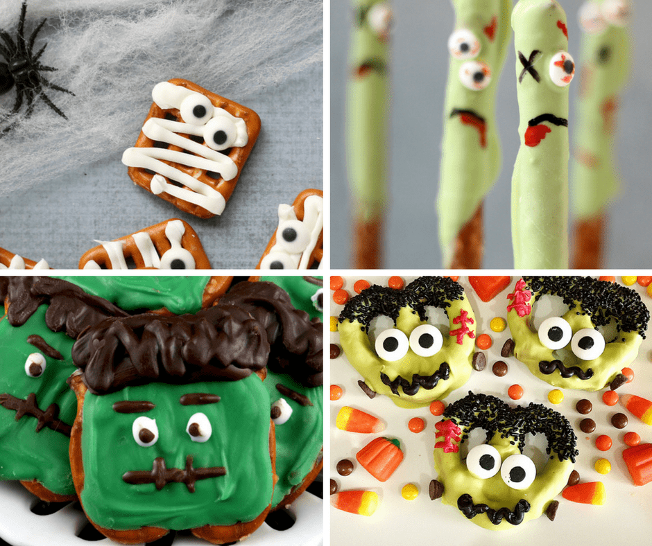 roundup of 20 Halloween pretzels treat ideas