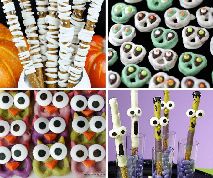roundup of 20 Halloween pretzel treat ideas