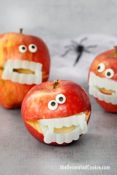 healthy Halloween snack, apples with vampire teeth
