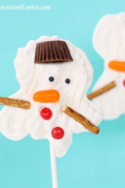 EASY melting snowman candy lollipops - chocolate pops - with video how-tos