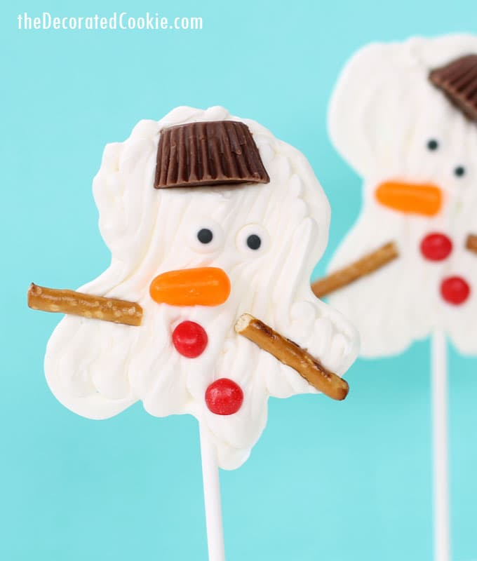 EASY melting snowman candy pops - chocolate pops - with video how-tos