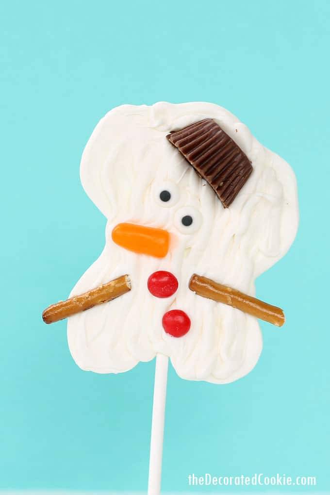 melting snowman candy pops -- a winter or Christmas chocolate treat -- step-by-step instructions and video how-tos included