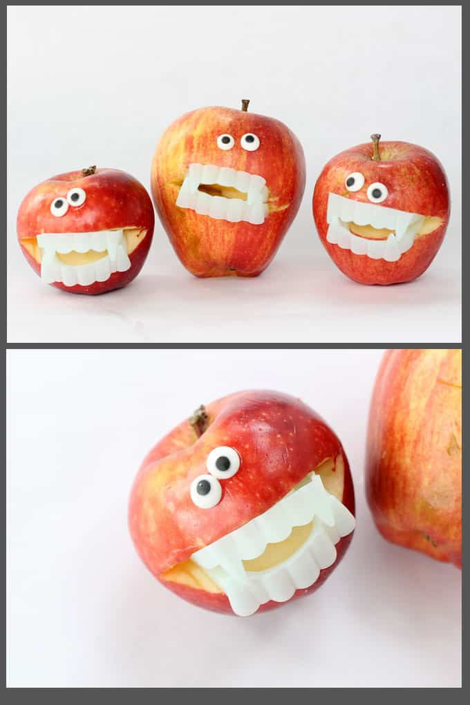 These super-easy monster apples take seconds to make for a fun Halloween party food idea or healthy Halloween snack idea for the classroom. Vampire apples! #halloween #healthyhalloween #partyfood #apples #monster #vampire #fruit