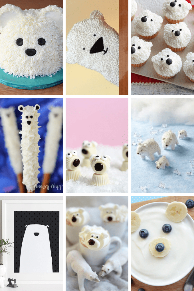 A roundup of 20 polar bear treats and crafts from around the web for a winter-themed party.  Fun food ideas and crafts for polar bear fans.