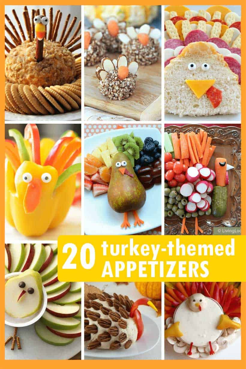 collage of turkey-themed appetizers for Thanksgiving