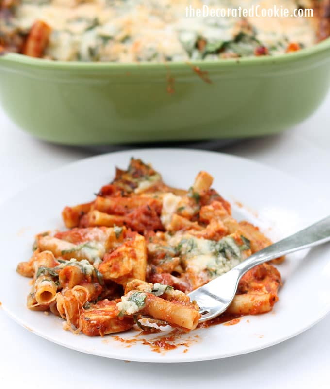 EASY DINNER IDEA: one-dish, no boil, baked ziti and chicken with a cheesy spinach topping (VIDEO how-tos)