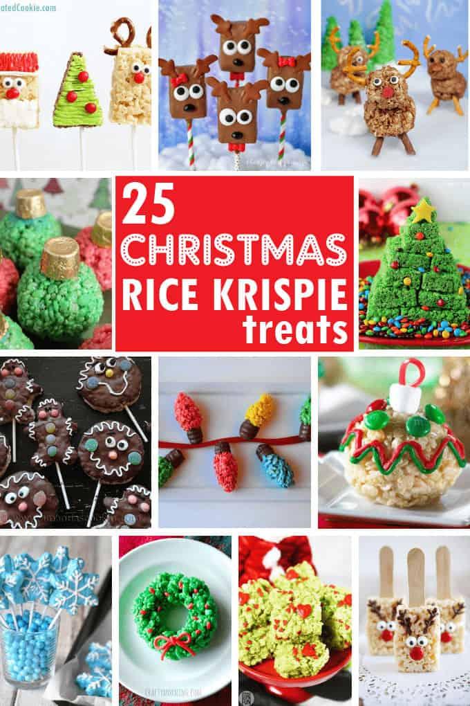 Christmas Rice Krispie treats collage