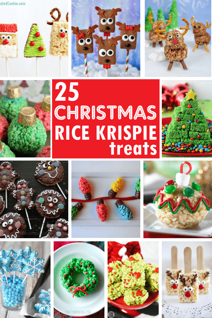 A roundup of 25 CHRISTMAS RICE KRISPIE TREATS -- Cute, fun and easy holiday treats. Use store-bought cereal treats for a shortcut. #CHRISTMAS #RiceKrispieTreats #cerealTreats #nobake