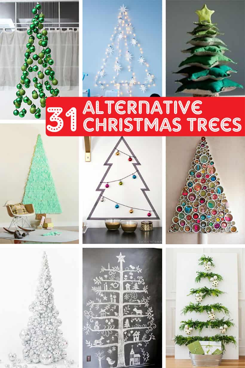 collage of alternative Christmas trees