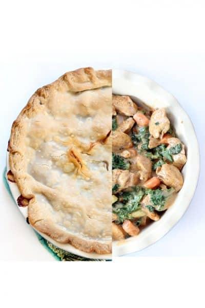 chipotle chicken pot pie with fresh vegetables