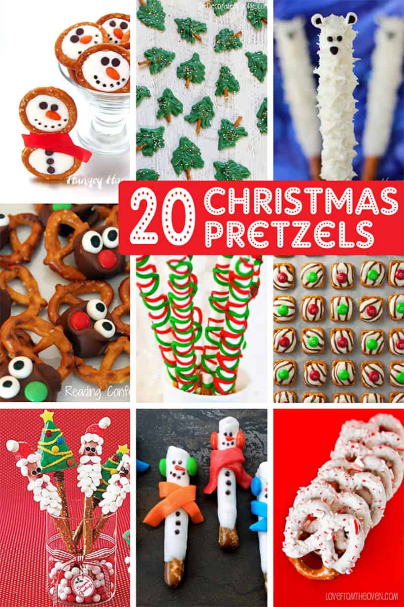 collage of Christmas pretzels