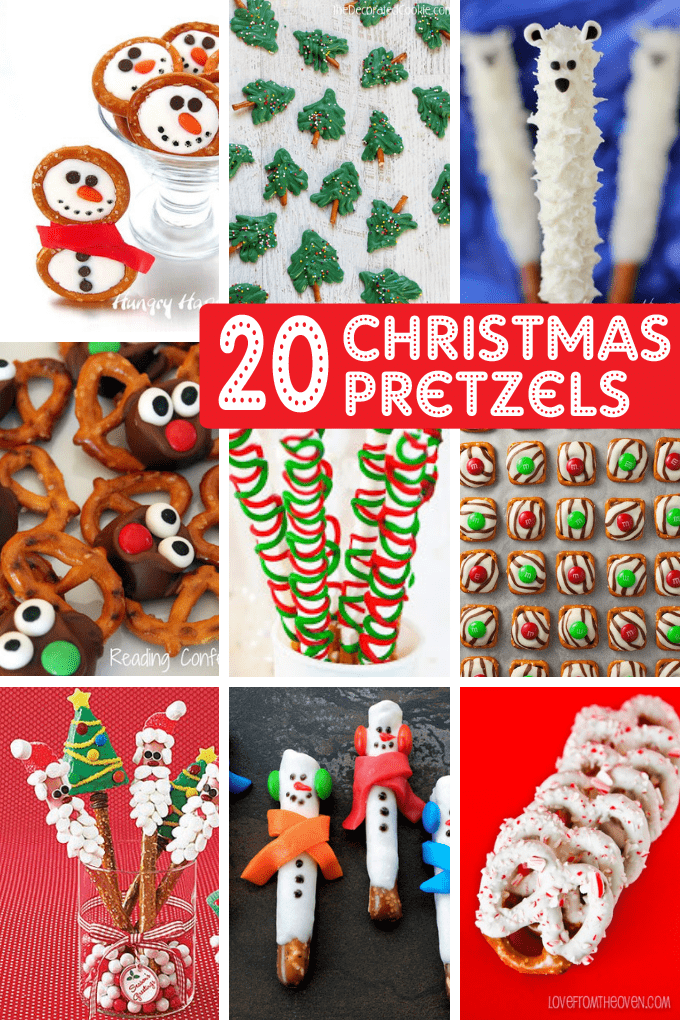 A roundup of 20 CHRISTMAS PRETZELS -- Use store-bought pretzels to create fun homemade Christmas gifts or Christmas treats