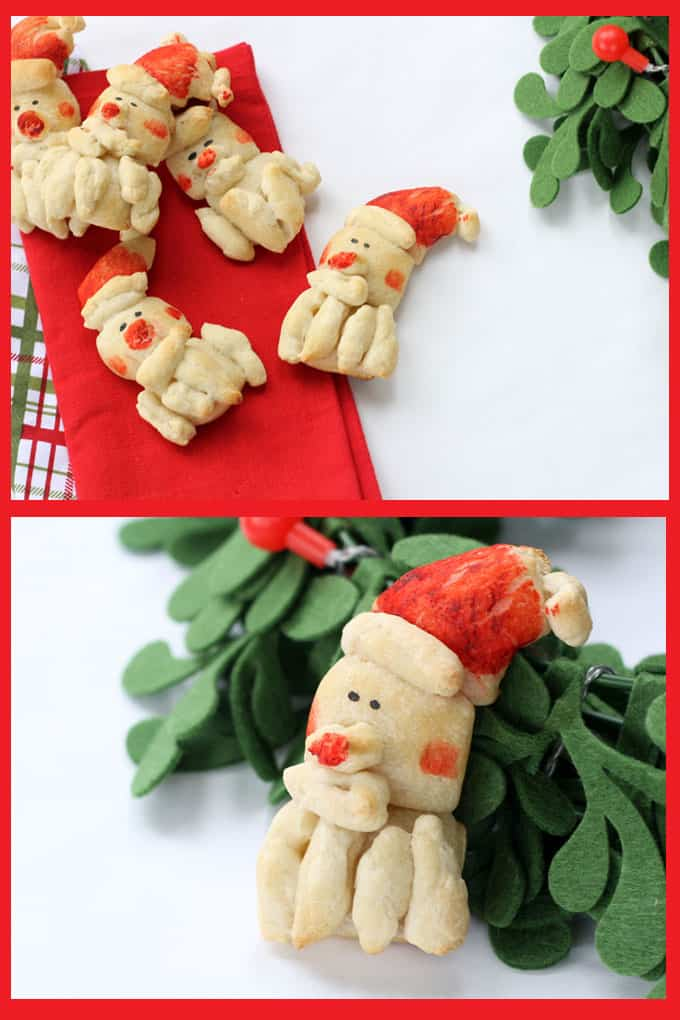 SANTA DINNER ROLLS: Use store-bought refrigerated dough and food coloring to make cute Santa dinner rolls for Christmas dinner.Video step-by-step instructions included.
