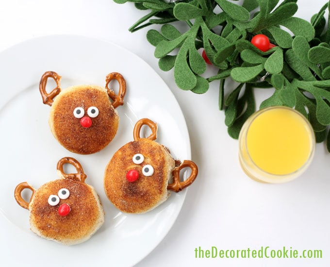 cinnamon sugar Rudolph biscuits Christmas breakfast