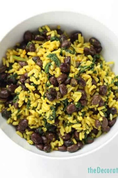 curried rice with spinach and black beans - side dish or vegetarian/vegan main meal
