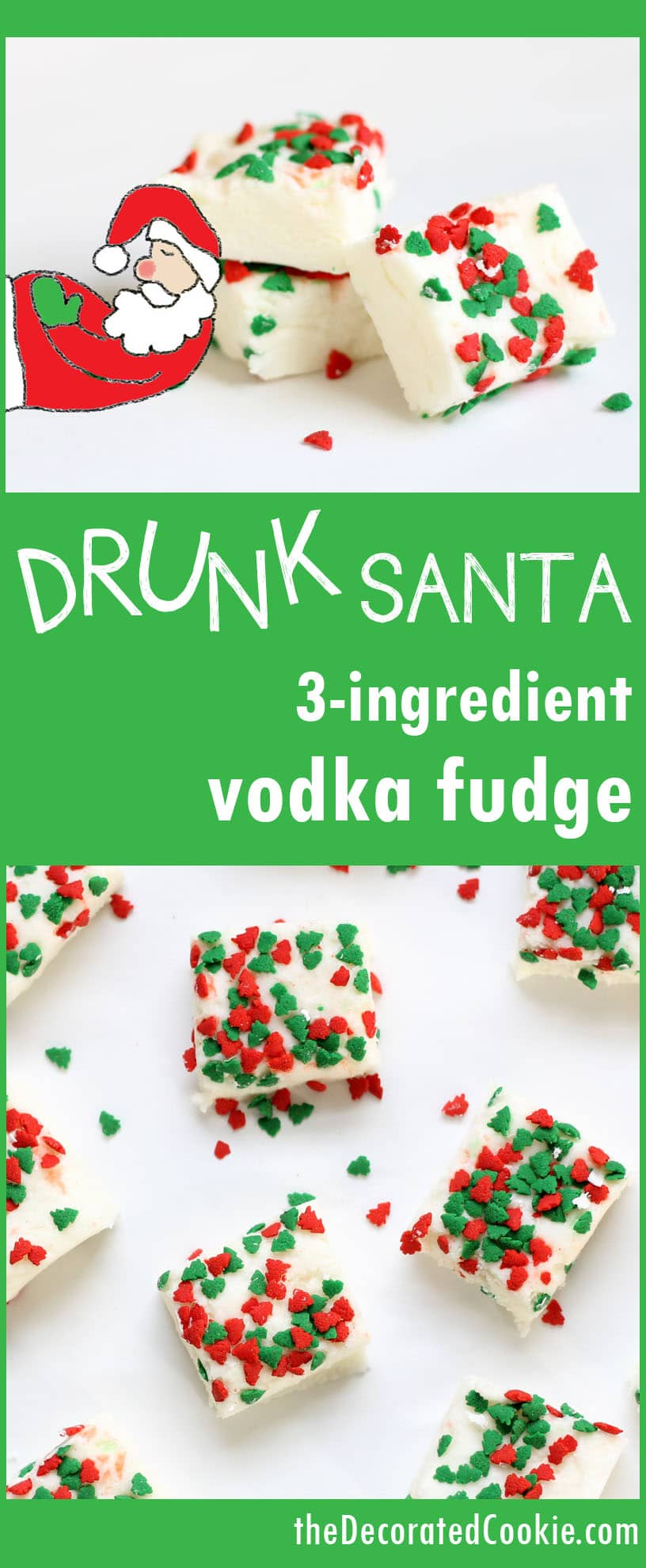 drunk Santa fudge for Christmas - 3-ingredient boozy vodka fudge