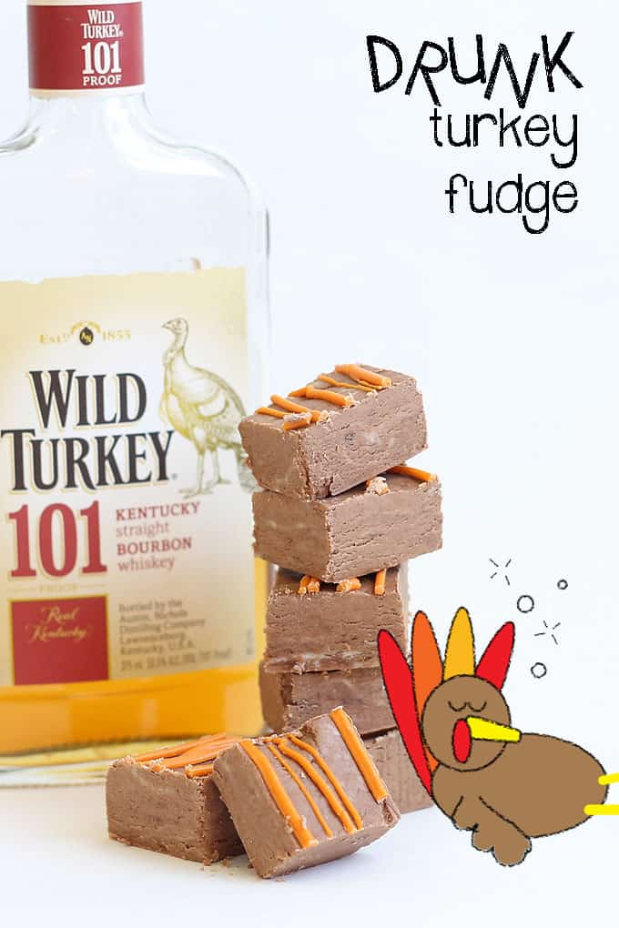 Be the hero at Thanksgiving and bring WILD TURKEY FUDGE -- 3-ingredient drunk turkey boozy fudge -- made with Wild Turkey whiskey and chocolate.