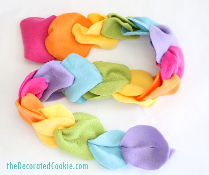 no-sew rainbow fleece scarf