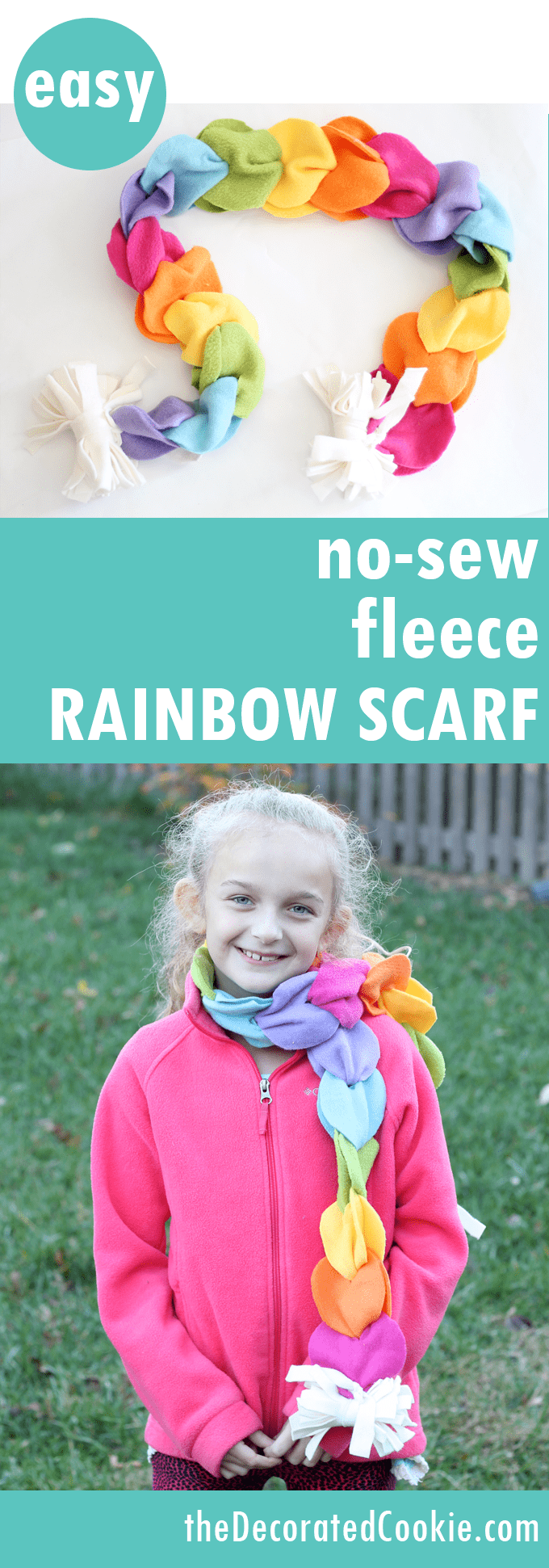 no sew rainbow scarf | DIY Fleece Fabric Craft Ideas Perfect For Cold Months | fleece fabric craft | fleece crafts