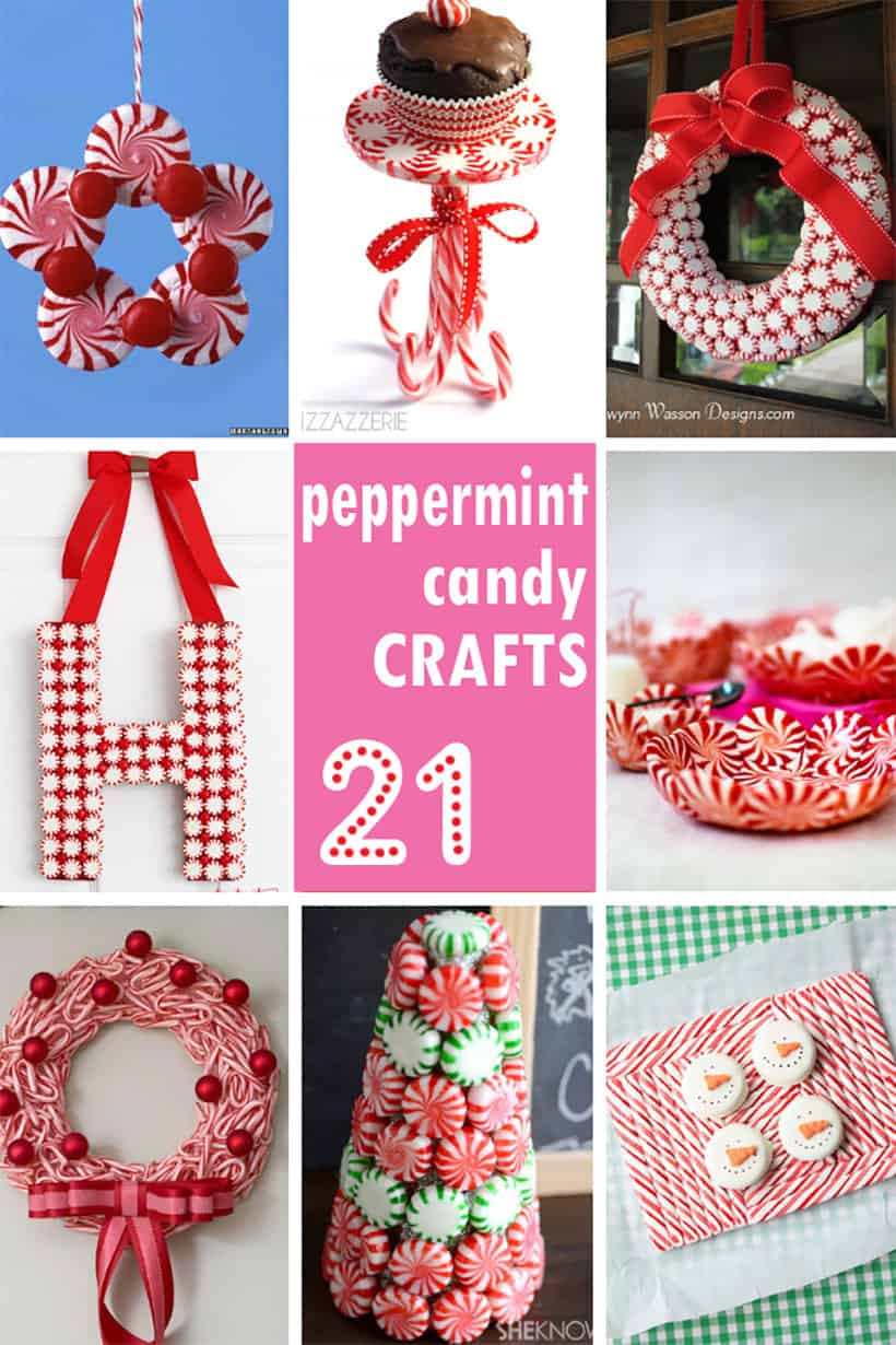 collage of peppermint candy crafts for Christmas