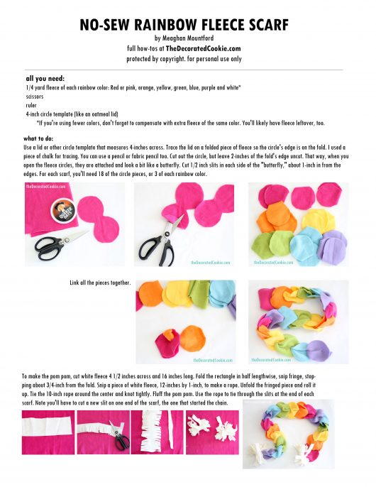 printable no-sew rainbow fleece scarf instructions