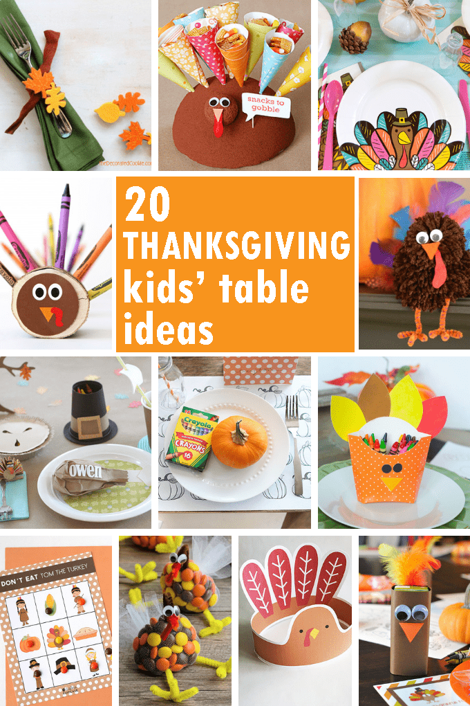 A roundup of 20 Thanksgiving kids' table ideas. DIY ideas for your Thanksgiving kids' table. Thanksgiving crafts and decor, kid-friendly.