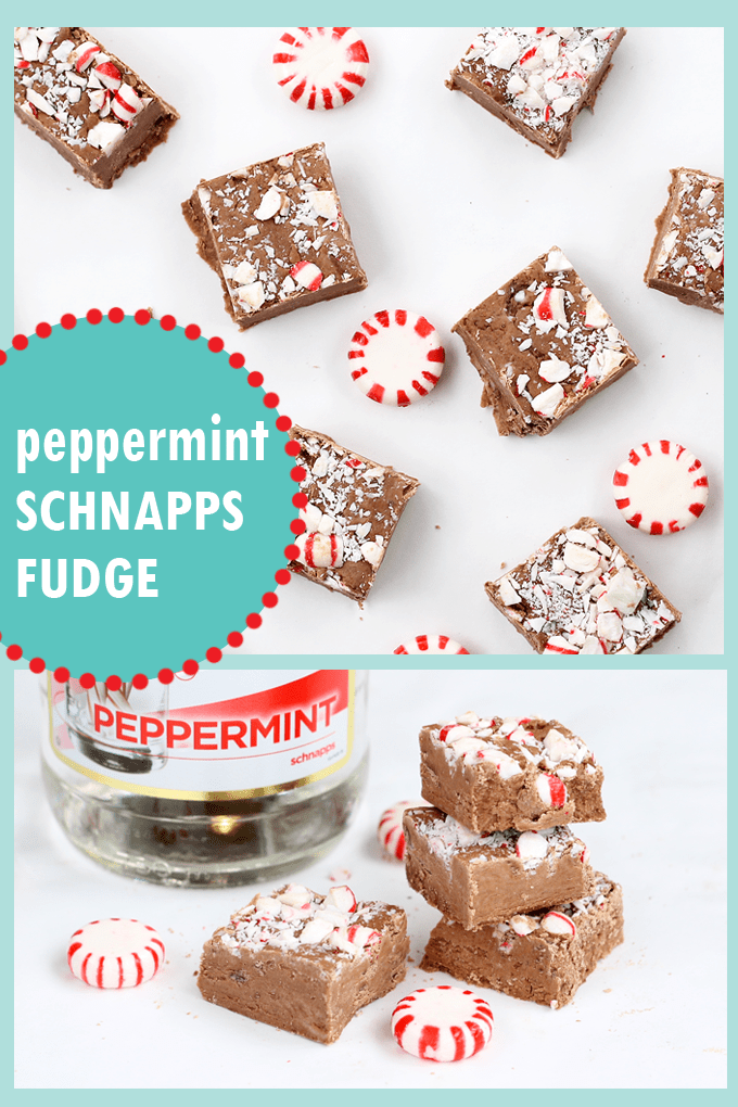boozy 3-ingredient PEPPERMINT SCHNAPPS FUDGE topped with crushed candy canes will make Christmas better for everyone. Great handmade gift idea for Christmas