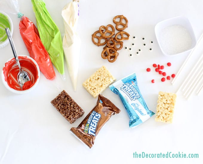 EASY Christmas treat ideas: 3 ways to decorate Christmas Rice Krispie Treats (cereal treats)