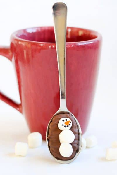 marshmallow snowman hot chocolate spoons