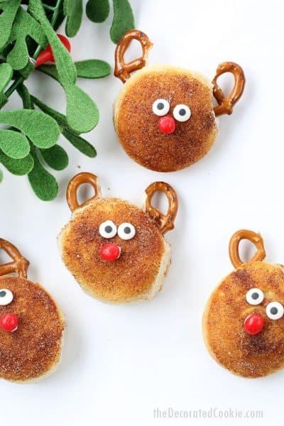 Christmas breakfast biscuits -- cinnamon sugar Rudolph biscuits