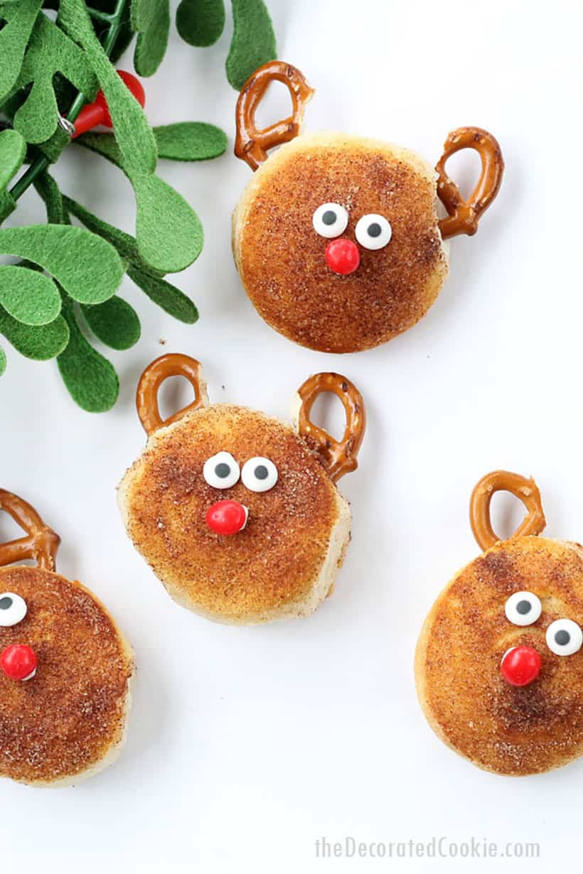 Christmas breakfast biscuits -- cinnamon sugar Rudolph biscuits