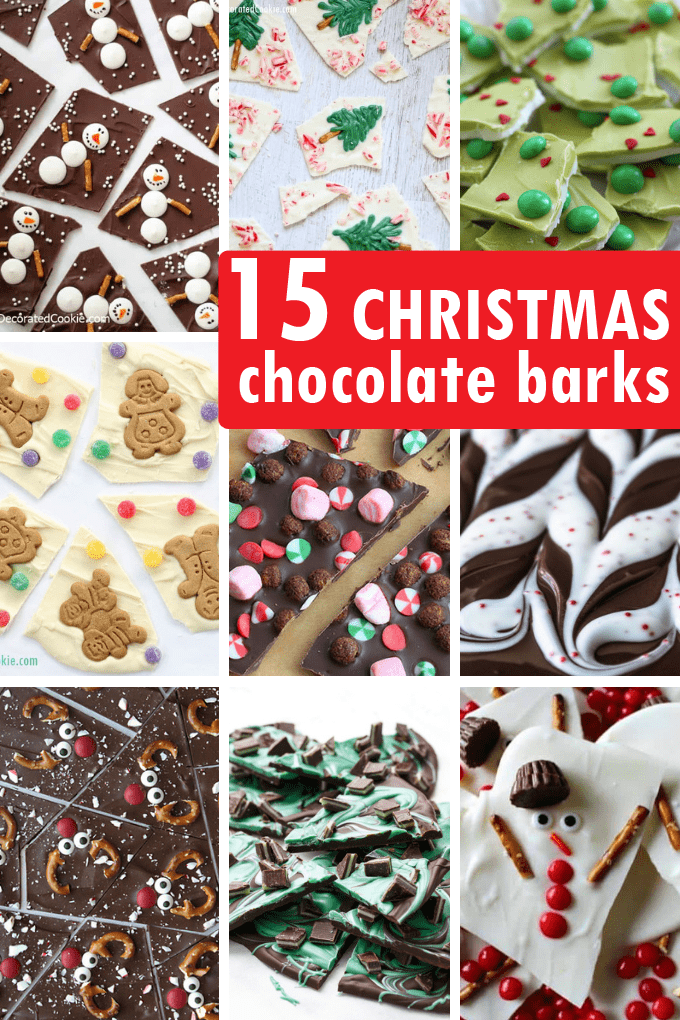 15 CHRISTMAS CHOCOLATE BARK recipes. A roundup. #christmas #chocolatebark