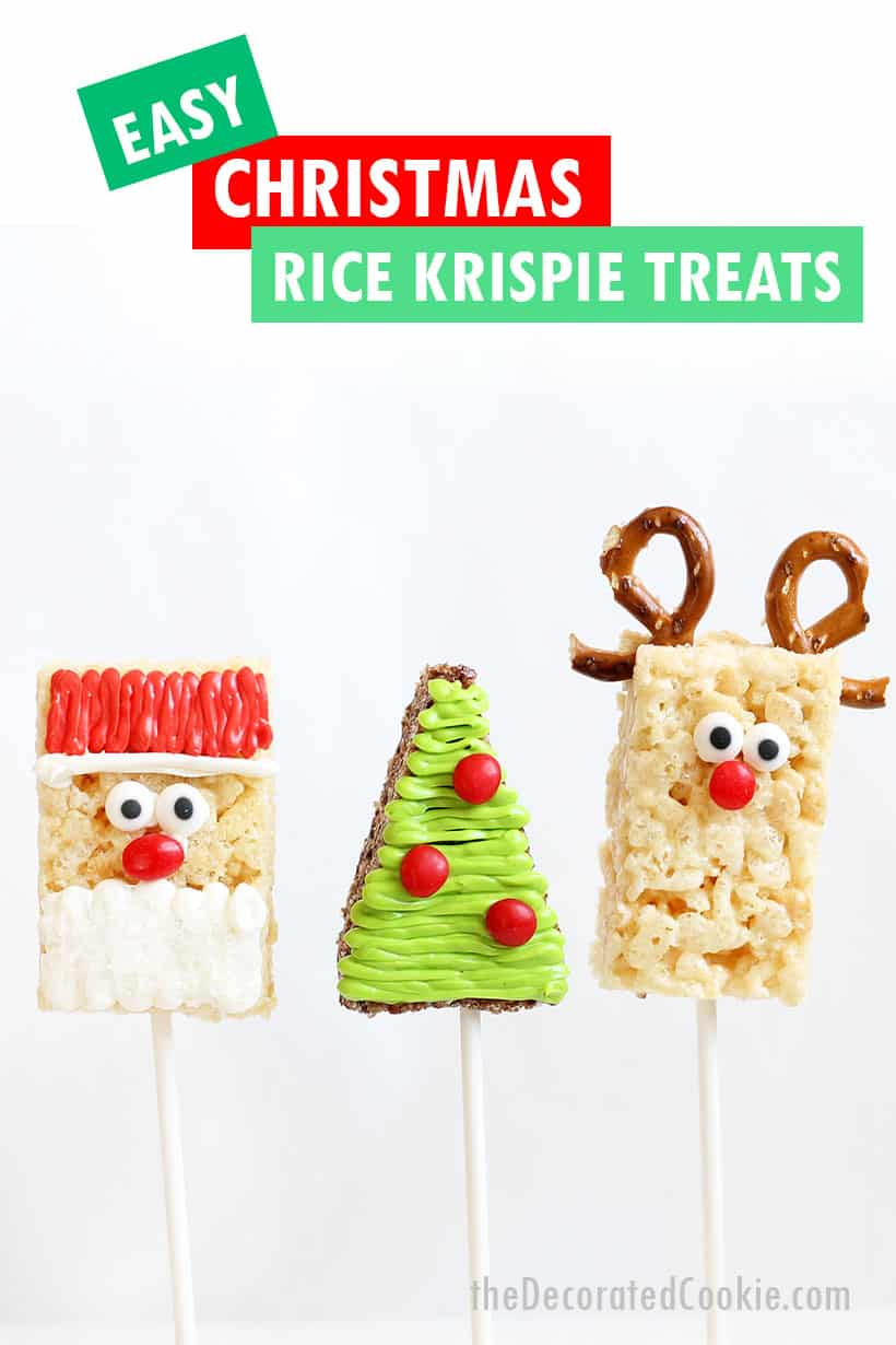 Christmas Rice Krispie Treats decorated with frosting. Santa, tree, Rudolph.