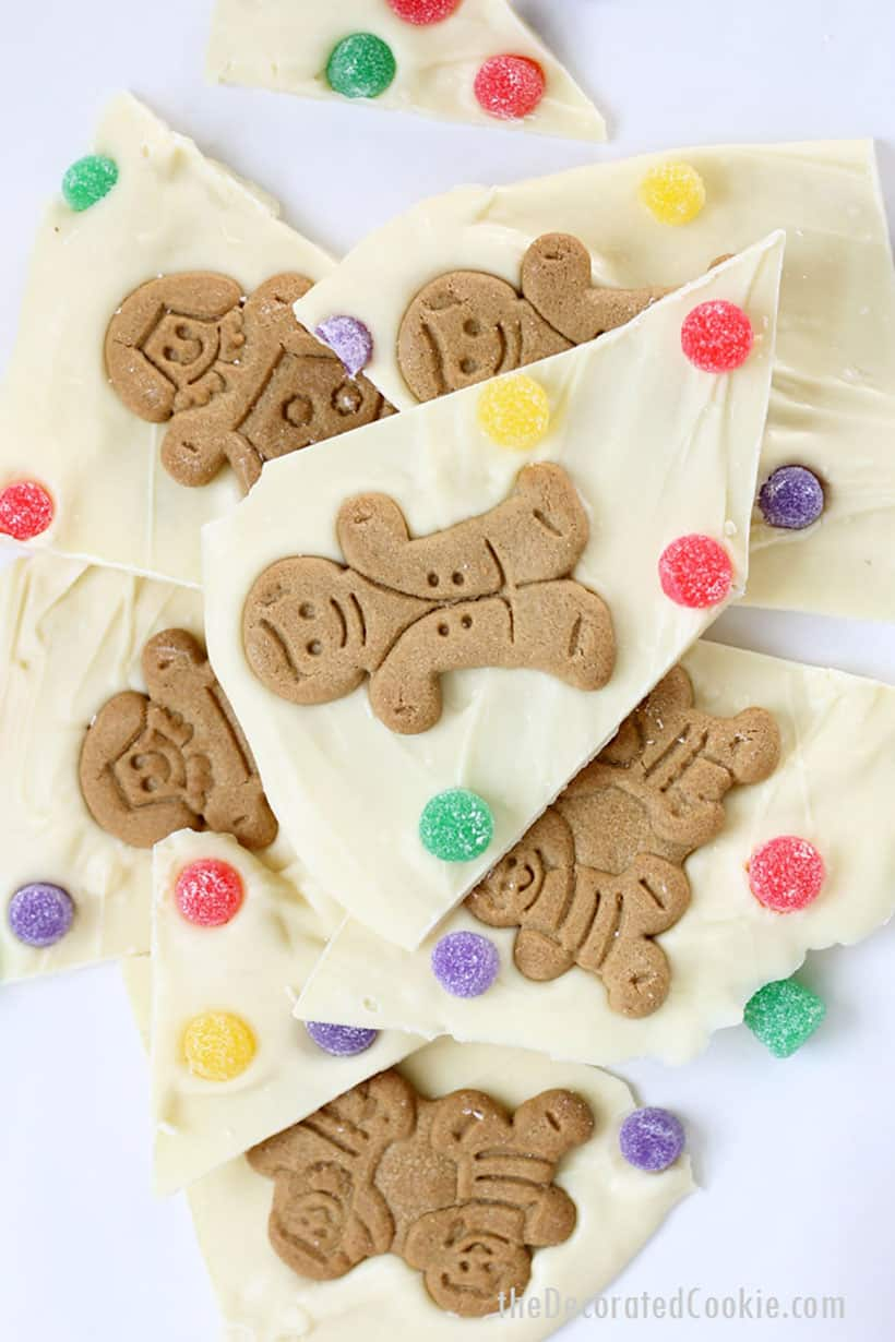 gingerbread man chocolate bark with gum drops