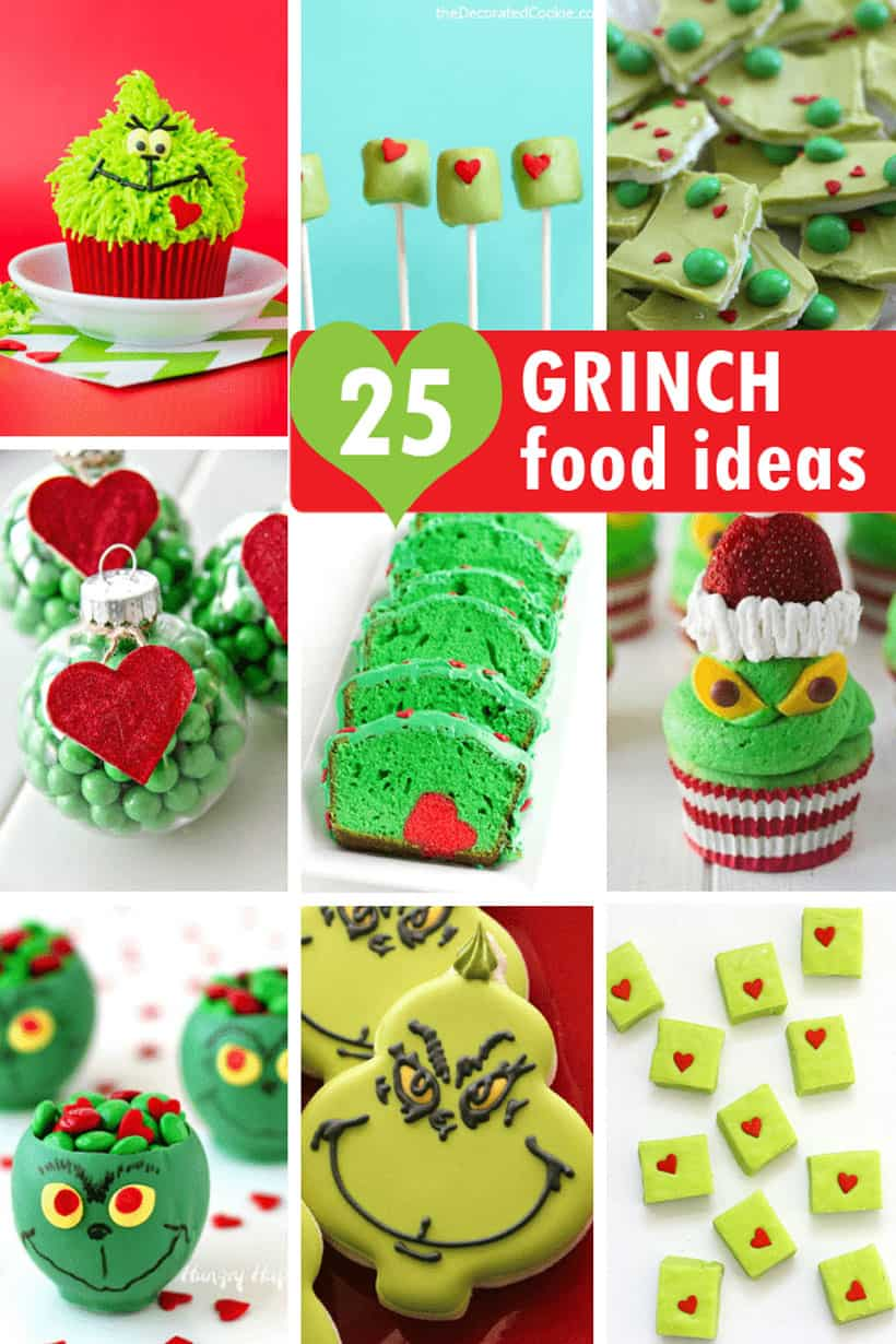 collage of 25 Grinch food ideas