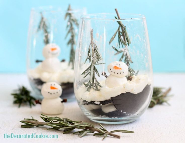 EASY Christmas dessert: Ice box cake snow globes. Make-ahead!