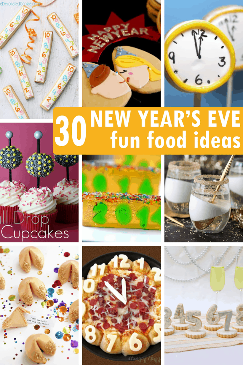collage of New Year's eve food ideas
