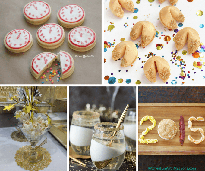 roundup of fun food ideas for New Year's Eve