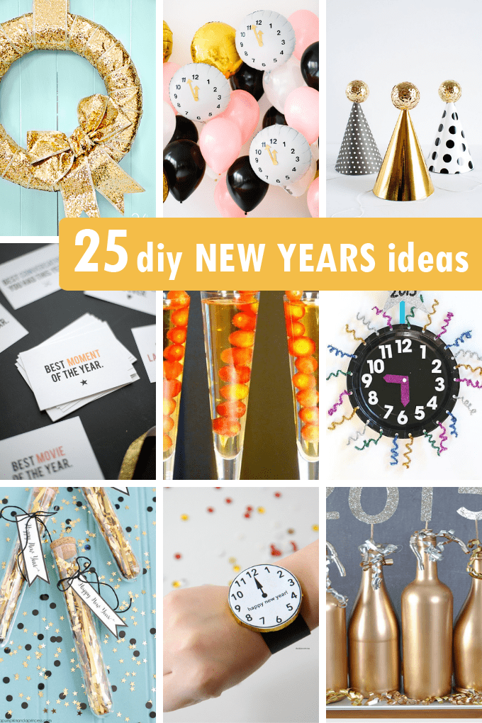 Hosting a New Year's Eve party? Here are 25 awesome DIY New Year's Eve ideas, including party decor, games to play, and New Years Eve crafts.