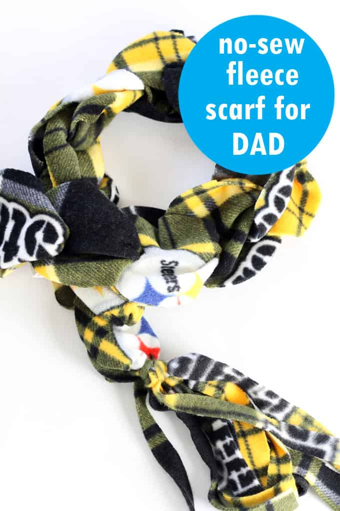 The no-sew fleece scarf for Dad: A Dad-version of the no-sew rainbow fleece scarf kids can make for holiday gifts. #kids #gifts #homemadegifts #handmade #giftsfordad #scarf #no-sew #fleece