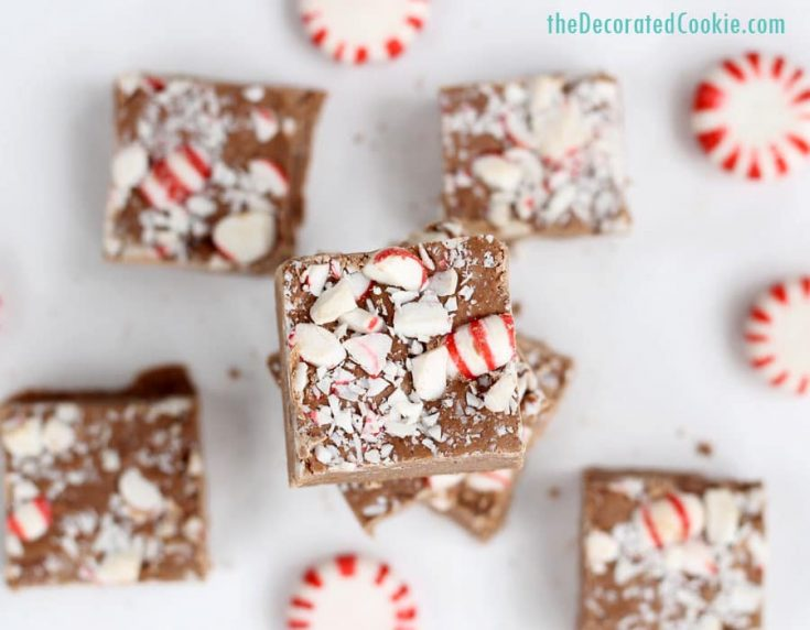3 ingredient Peppermint Schnapps Boozy fudge -- perfect homemade Christmas gift idea