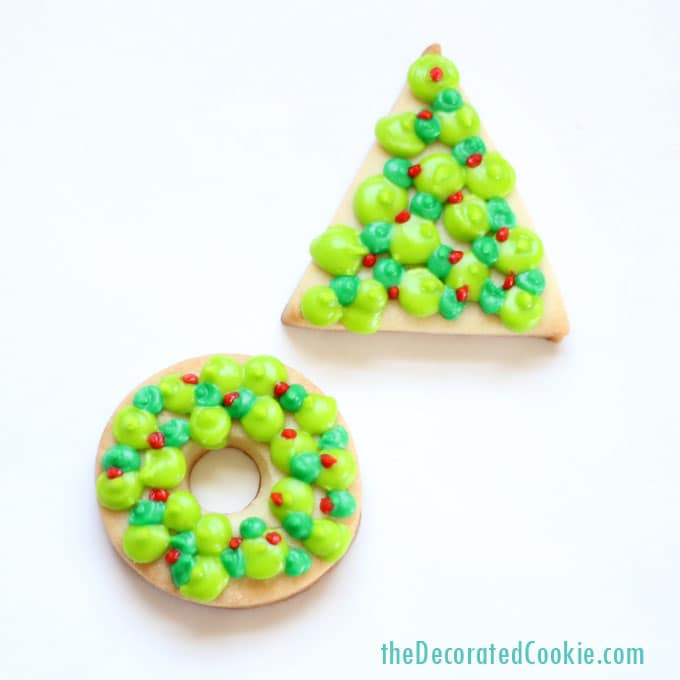 simple decorated Christmas cookies -- easy wreath and Christmas tree cookies